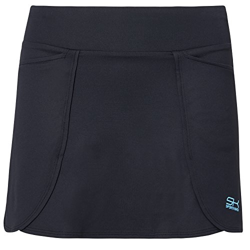 Sportkind Mädchen & Damen Tennis / Hockey / Golf Rock in Wickeloptik mit Taschen & Innenhose, schwarz, Gr. 122