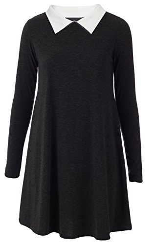 Re Tech UK - Damen Hängerkleid - langärmlig & mit Bubikragen - ausgestellte A-Linie - Midi-Länge - Schwarz - - Wednesday Addams Kostüm
