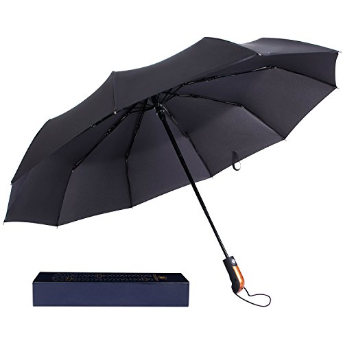 lifewit-10-rib-compact-travel-umbrella-golf-umbrella-folding-windproof-auto-open-close-black