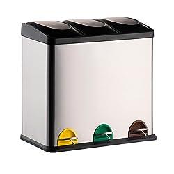 MSV Mülleimer Mülltrennsystem 60 L (3x20 Liter) mit Inneneimer große Abfallbehälter Abfalleimer Treteimer Edelstahl