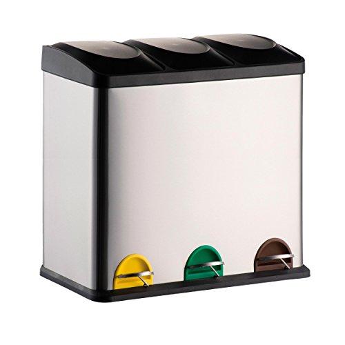 *MSV Mülleimer Mülltrennsystem 60 L (3×20 Liter) mit Inneneimer große Abfallbehälter Abfalleimer Treteimer Edelstahl*
