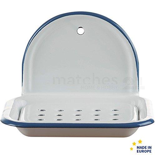 matches21 Email Seifenschale zum Hängen / Wandmontage Retro Emaille Seifenunterlage weiß 13 x 10 x 9 cm