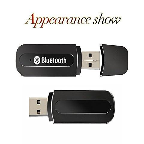 USB Récepteur Bluetooth, URANT Mini Récepteur Audio Bluetooth Adaptateur sans fil Kit auto voiture mains libres Car Kit pour les écouteurs , portables , haut-parleurs , chaîne stéréo et audio de voiture avec Câble audio 3,5 mm AUX , Technologie Bluetooth
