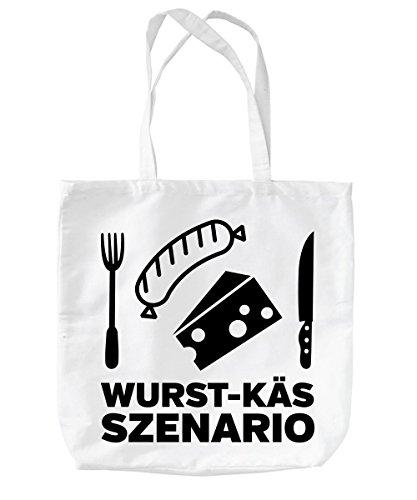 -- Wurst-Käs-Szenario -- Baumwolltasche Weiss, langer Henkel