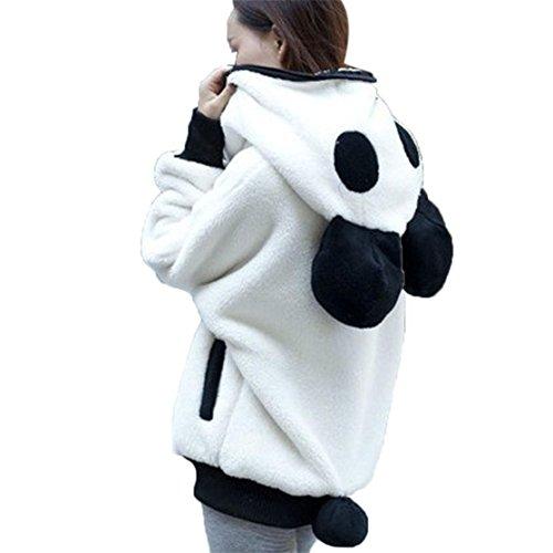 Frauen Winter und Frühling Panda mit einem Cap Coat Loveso Kapuzenjacke Tasche Plüsch Jacket Lässiger Reißverschluss Mantel Oberbekleidung Süßer Bär Ohr Panda Warme Hoodie Kapuzenjacke (S, Weiß) (Damen Winter Coat North Face)