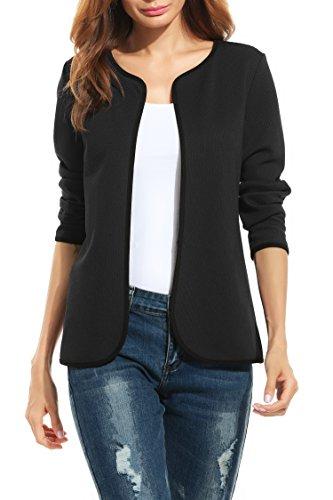 Parabler Damen Herbst Strickjacke Cardigan Blazer Jacke Mantel Pullover Tops (EU 38/ M, Schwarz-A)