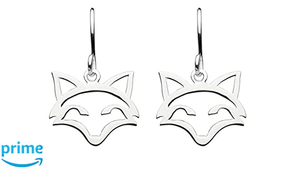 Dew Sterling Silver Fox Head Outline Drop Earrings 6033HP nVMv6RFMPL