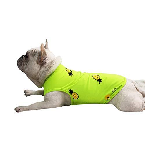 T.boys's Haustier Frühjahr Pet Shirt Welpen Herbst Weiches Komfort Weste Pet Frühling und Sommer Ananas Muster Hundekostüme Pet Kleidung Weste (Green, S)
