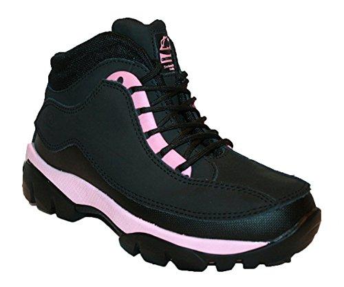 Groundwork Damen Arbeit Stiefel Stahlkappe Stiefel Boots Leder Oberteil GR386von, Pink - Schwarz/Pink - Größe: 37 EU