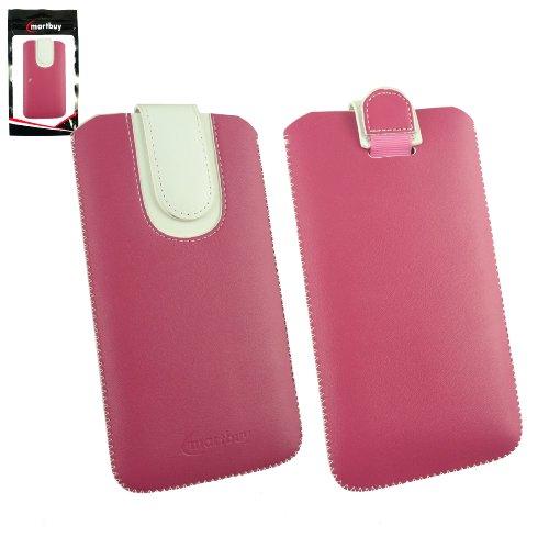 Emartbuy® Hot Rosa / Weiß Premium PU LederTasche Hülle Schutzhülle Case Cover ( Größe 5XL ) Mit Ausziehhilfe Geeignet für Oppo R7 Plus 6 Zoll Smartphone