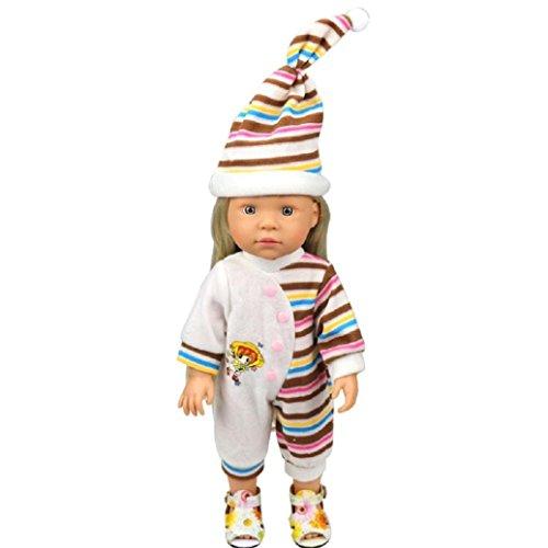 45,7cm Puppe Kleidung und Accessoires für American Girl Puppe Unsere Generation mingfa 2pc gestreift Strampelanzug Jumpsuit Pyjama Outfits mit Hat (Gestreiften Pyjama Pink)