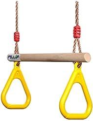 Pellor Multi-Fonction Trapèze Balançoire en Bois avec Gymnastique Anneaux en Platique pour Enfants