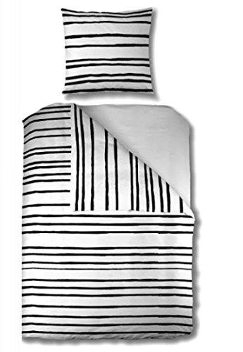Aminata – gestreifte Bettwäsche 135x200 cm Baumwolle + Reißverschluss dünne Streifen Schwarz Weiß Black White Bettbezug Blockstreifen Linien Muster 2-teiliges Bettwäscheset Bezug Ganzjahr Normalgröße (Gestreifte Bettwäsche)