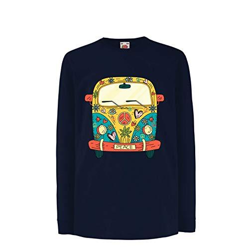 lepni.me Kinder-T-Shirt mit Langen Ärmeln 60er Jahre 70er Jahre Hippie-Van, Blumen, Liebe, Symbol für Friedensfreiheit (12-13 Years Blau Mehrfarben)