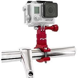 MyGadget Support pour Action Cam Vélo/Moto Fixation Guidon en Aluminium - Rotation 360 degrés pour Caméra GoPro Hero 7/6/5/4/3+/3/2, Xiomi Yi 4K+ Rouge