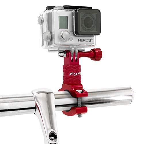 MyGadget Action Cam Fahrradhalterung 360° Metall - Fahrrad Motorrad Rohr Lenkerhalterung Kamera Halterung für z.B. GoPro Hero 6 5 4, Xiaomi Yi - Rot