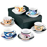 Zeller 26510 Magic Eyes - Juego de tazas de café (12 piezas, porcelana), diseño de ojos