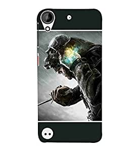 For HTC Desire 530skull mask, man, man with sword, rain Designer Printed High Quality Smooth Matte Protective Mobile Case Back Pouch Cover by APEX