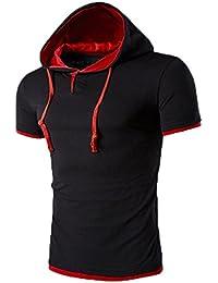 Kobay A Maniche Corte T-Shirt da Uomo Pullover di Modo di Estate con  Cappuccio 5a2bc8408fe8