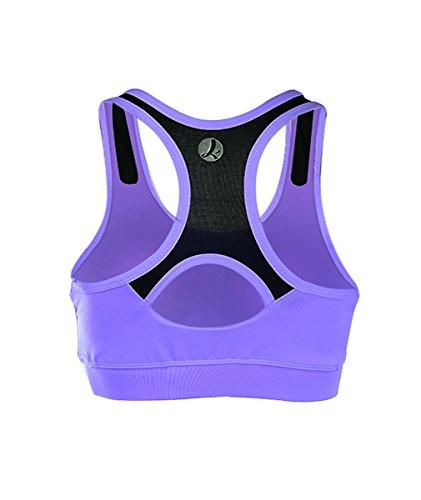 EUFANCE Frauen Racerback Workout Yoga Sport BH Seamless Komfort Fitness Studio Active Tank Top Lila Schwarz