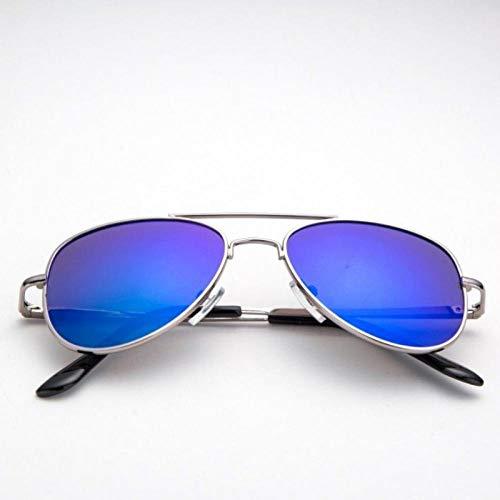 Fahrer Tinte (Sonnenbrille Frauensonnenbrille Mann Strahlenschutz Pilot Fahrer Sonnenbrille Mann UV-Schutz F1 Goldrahmen Silberbrille Brille kleines Handseil, Silberrahmen Tinte blau _ Spiegelbox + Spiegeltuch + k)