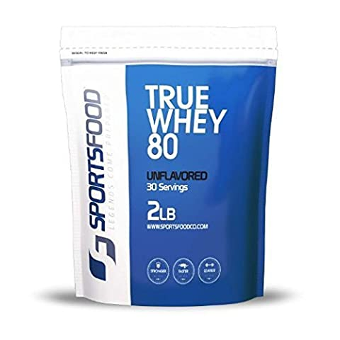 Sports Food True Whey 80 Protein Concentrate (Unflavored, 2 lbs)