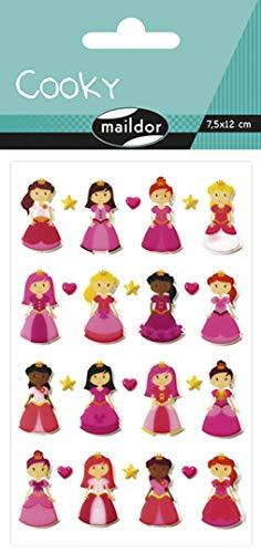Maildor CY002O Packung mit Stickers Cooky 3D (1 Bogen, 7,5 x 12 cm, ideal zum Dekorieren, Sammeln oder Verschenken, Prinzessin) 1 Pack