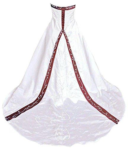 Vantexi Damen A-Linie Stickerei Hochzeitskleid Brautkleider Elfenbein Burgund Größe 44
