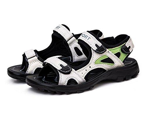 WZG New sandales en cuir chaussures d'été d'escalade sportive de loisirs de plein air sandales de plage pataugeoires appartements White