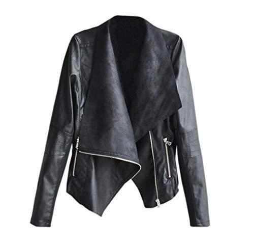 Frühling und Herbst Damen Lederjacke Mode Langarm Mäntel Jacke Outerwear Oberteile mit Zipper...