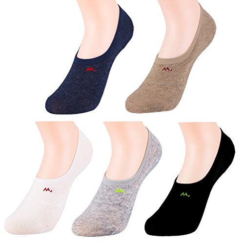 Hanmorlla 5 Per Damen Füßlinge Baumwolle Sneaker Socken mit Rutschfest Silikon Ballerina Bunte Kurze Socken (Acryl Damen-socken)