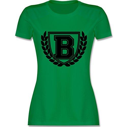 Anfangsbuchstaben - B Collegestyle - tailliertes Premium T-Shirt mit Rundhalsausschnitt für Damen Grün