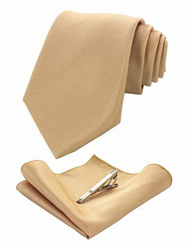 JEMYGINS Krawatte Seide Gold Krawatten und Einstecktuch mit krawattenklammer Set für Herren Seidenkrawatten Hochzeit Schlips (8)
