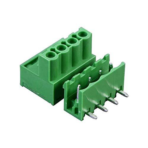 Freeauto 5,08 mm Pitch 4 Pins Plug-in Schraube PCB Terminal Block Stecker rechts Winkel (10 PCS, 5Paar) -