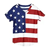 HKFV T-Shirt Clearance!Women Newest American Flags Printed Unique Indepandence Day Stylish Tops Blouse Short Sleeve T-Shirts (XL, American)
