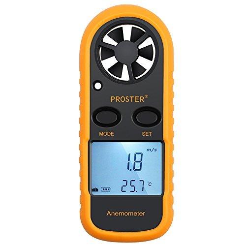 Proster Windmesser digital LCD Wind Speed Meter Gauge Air Flow Geschwindigkeit Messung Thermometer mit Hintergrundbeleuchtung für Windsurfen Kite Flying Segeln Surfen Angeln etc.