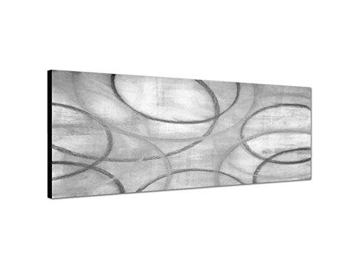 Keilrahmenbild Panoramabild SCHWARZ / WEISS 150x50cm Malerei abstrakt grau