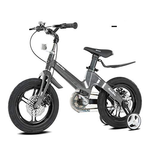 Bicicletas Infantiles, NiñOs Bicicleta 16 Pulgadas con Freno Disco Ruedas De Entrenamiento FáCil Montaje Ligero Marco AleacióN Magnesio Ajustable Asiento para 3-8 AñOs-Negro Rojo, Black