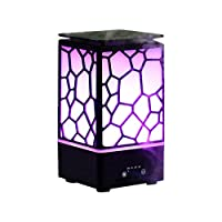 TOMNEW Essential Oil Diffuser 200ml Aroma Diffuser Ultrasonic Aromatherapy Humidifier with 7 Color Warm Lights Changing, Waterless Auto Shut-Off, Mist Comes Out from All Sides at The Top (Black)
