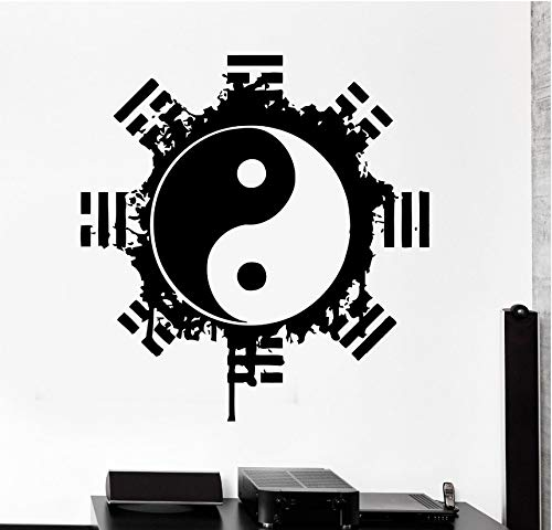Wuyyii Hohe Qualität Vinyl Wandaufkleber Buddha Yin Yang Floral Religion Wandbild Kunst Home Wand Dekoration Yoga Meditation Aufkleber57X57 Cm