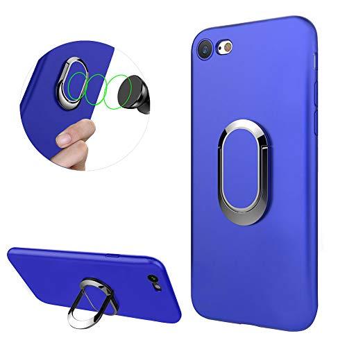 DasKAn Einfarbig Matt Silikon Hülle für iPhone 6 Plus/6S Plus mit Ringhalter,Eingebauter Magnet für Autohalterung Ultra Dünn Weich Gummi Rückseite Handyhülle Stoßfest Flexibel Gel TPU Schutzhülle,Blau