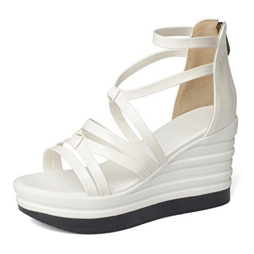COOLCEPT Damen Mode Knochelriemchen Sandalen Cut Out Keilabsatz Open Toe Schuhe Zipper White