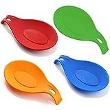 HelpCuisine Poggiamestoli/Poggiacucchiai realizzati in silicone alimentare privo di BPA, termoresistente e durevole, set da 4 (rosso, verde, arancione, bluse)