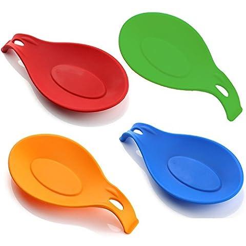 HelpCuisine Set- 4 farbige Stück Küchen Silikon LÖFFELABLAGE KOCHLÖFFELABLAGE KOCHLÖFFELHALTER für Küchenutensilien Löffel aus 100% BPA freiem Silikon Küchenhelfer Löffelständer Kochlöffelständer Löffelhalter Löffel Ablage Maße: (4 Stück Silikon-spachtel)