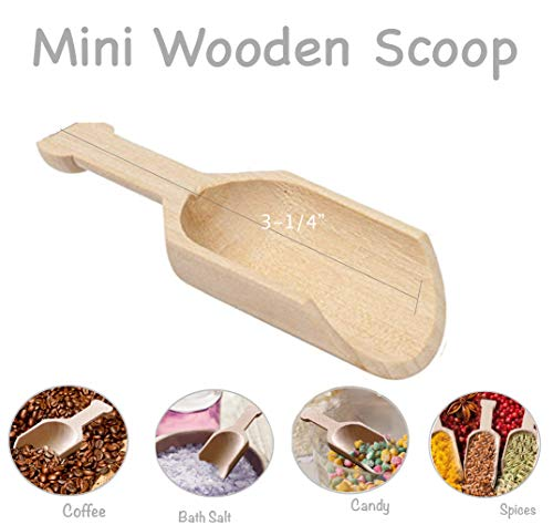 Mini Madera Scooper pala de madera natural, para fiestas buffet- coger Candy, especias, fruta seca, Frutos secos, Sales de baño, lavandería detergente (Pack de 10)