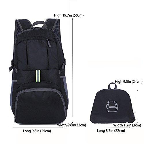 Multifunzione Leggero zaino trekking, zaino 35L SUNSEATON impermeabile Pieghevole Daypack Per Sportivo Outdoor Campeggio Arrampicata Viaggi Zaino Borsa Nero