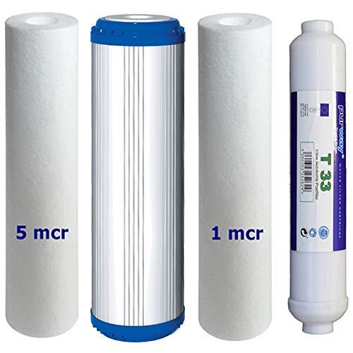 Osmose Filter 4er-Set 5-PLA-1-T33 für 1. bis 3. und 5. Stufe Umkehrosmose -
