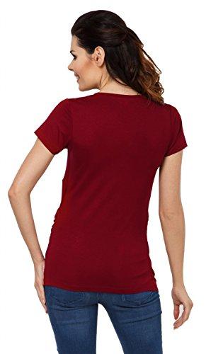 Zeta Ville - Damen Zweilagiges Still T-Shirt Top für Schwangere Kurzarm - 790c Purpur