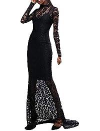 LMMET Vestiti Nero Donna Elegante Lunghi Cerimonia Pizzo Vestiti Matrimonio Donna  Eleganti Estate da Sera Damigella Donna Vestito… 39a7b759abc