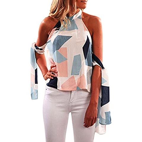 Keepwin Womens Geometric Print Tie Sleeve Backless Sleeveless Halter Neck Tops Blouse (L, Blue)